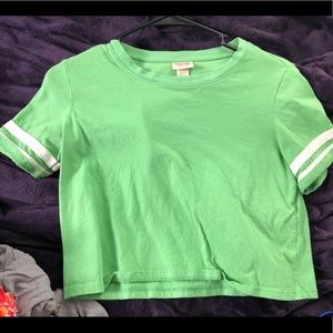 Mossimo (target) green striped sleeve crop top